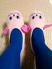 Turquoise tights, mousey feet! (skamegu) Tags: blue feet stockings face animal socks japan mouse turquoise ears tights tatami slippers picnik nylons