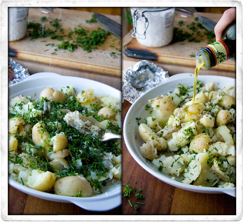 :: Fork Crushed Herb and Roast Garlic Potatoes
