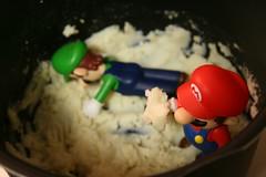 Mario & Luigi - 181 - NOM NOM NOM (revengingangel (Will be uploading photos)) Tags: food dinner eating nintendo mario actionfigures mariobros devour figures luigi supermariobros nomnomnom mashpotatoes