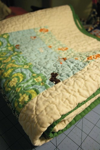 Blue&Green+Yellow baby quilt - all folded up