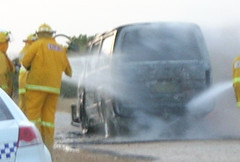 CFS putting out the van fire