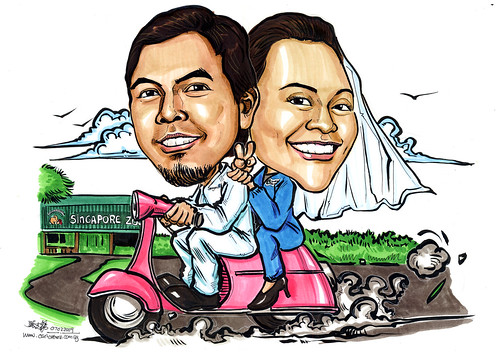 Wedding couple caricatures on Vespa to zoo A4