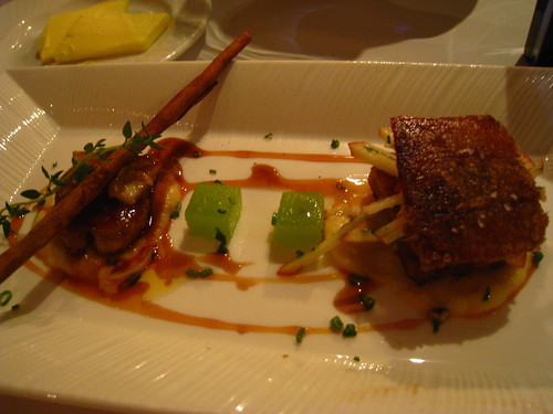 Slow Roasted Cinnamon Pork Belly on Ginger & Apple Purée with Smoked Foie Gras
