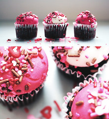 ... Make my words today sweet and tender, for tomorrow I may have to eat them. (Rebecca Tabor Armstrong) Tags: pink stilllife food macro festive hearts dessert cupcakes diptych colorful yum sweet chocolate sugar delicious sprinkles icing 60mm edible mmmm f28 valentinesday february14th