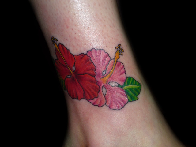 This hibiscus flower tattoo was done by christina walker at lucky bamboo