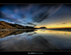 I was here, Feb 2009. ([ Kane ]) Tags: newzealand beach water clouds sunrise reflections explore nz kane hdr gisborne nwn gledhill kanegledhill vosplusbellesphotos humanhabits makororibeach kanegledhillphotography