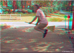 "The ""Potter Effect"" (starg82343) Tags: fun flying 3d funny lift witch wizard brian magic harry potter anaglyph landing stereo driveway wallace float effect broom broomstick departing"