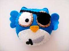 Pirate Owlie (Vivikas) Tags: blue cute shop hand sale mini felt plush made softie pirate owl sword etsy patch stitched owlie vivikas