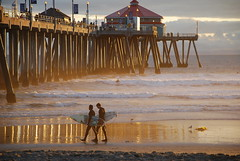 huntington (jst images) Tags: california sunset reflection beach water pier sand waves surfing surfers oc huntingtonbeach hb feelsgood thisfeelsgood