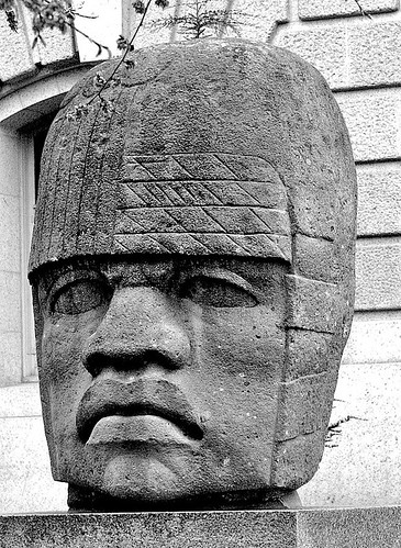 This Olmec head stand outside