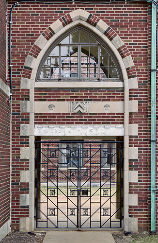 The former Christian Brothers College High School, in Clayton, Missouri, USA - archway