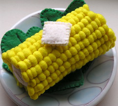 Corn with a Slice of Butter (GoBuggyGo) Tags: vegetables corn butter fakefood fauxfood feltfood