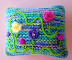 """Needlefelted and beaded pillow for Blythe (6"""" x 6"""")"""
