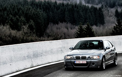 ///M3 CSL. (Denniske) Tags: trees mountains digital forest canon eos march is track day belgium belgique image action jan map 14 belgi saturday 03 m 09 be bmw l 28 mm dennis m3 smg mapping circuit spa 70200 2009 coupe tone f28 ef csl luik lige trackday e46 francorchamps noten zaterdag spafrancorchamps carspotting stabilisation tonemapped tonemapping 40d denniske dennisnoten c5l luhn