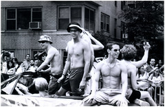 No Fancy Floats Here (parkluck) Tags: new york city nyc newyorkcity blackandwhite bw film 35mm vintage 2000 pentax 1999 parade 135 lesbians homosexuals greenwichvillage gayprideparade gays queers shirtlessmen zxm kmount justpentax
