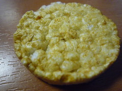 marmite rice cake (Ambernectar 13) Tags: macro london work afternoon desk thecity august lunchtime friday 2009 marmite ricecake tenses likeelevensesbutanhourearlier