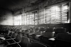 Auditorium (96dpi) Tags: blackandwhite bw abandoned composite photoshop decay fake sw schwarzweiss auditorium verlassen verfall beelitz enfuse xfuse heilstätten hörsaal