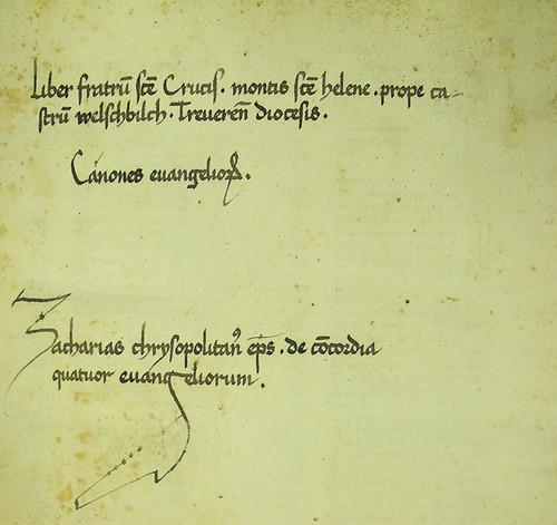 Ownership inscription in Zacharias Chrysopolitanus: Unum ex quatuor seu Concordantia evangelistarum