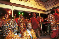 Mac Tontoh Project from Ghana at the Africa Centre London July 2001 066 band-ok (photographer695) Tags: world africa from 2001 music london mac african centre band july jazz ghana warriors ashanti kete trumpeter amanas osibisa tontoh nanaeba exosibisa