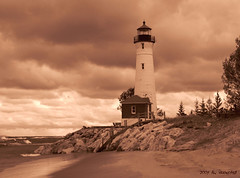 Crisp Point Lighthouse Sepia (Tim Veenstra) Tags: lighthouse crisppoint greatlakeslighthouse lakesuperiorlighthouse crisppointlighthouse