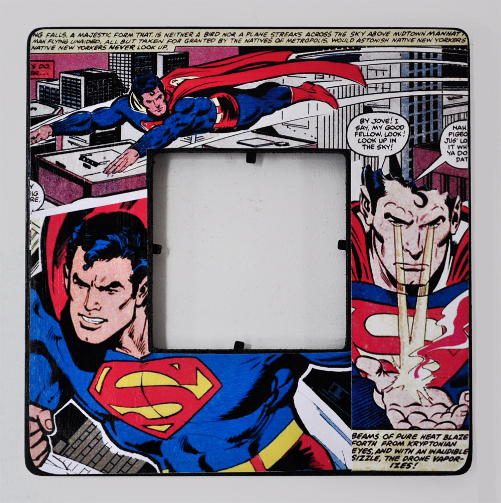 Superman - Decoupaged Comic Book Picture Frame