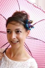 Peacock colours kanzashi (cuttlefishlove) Tags: pink flower umbrella japanese handmade traditional silk craft fabric parasol handcrafted folding hairaccessories hairclip kanzashi hairaccessory japanesecraft fascinator hairornament