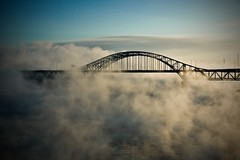 Smoke on the water (Michel Filion) Tags: bridge sky canada fog clouds canon river raw montreal explorer qubec michel filion 40d tamronspaf1750mmf28xrdiiildasphericalif mike9alive michelfilion