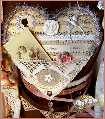 Vintage inspired Tinsel Heart Silver Wall Hanger (Boxwoodcottage) Tags: old music white flower bird silhouette rose wall glitter vintage paper dresden photo heart crystal cabinet lace antique foil tag valentine sparkle card german tinsel nostalgic romantic sheet swallow satin hanger borders trims