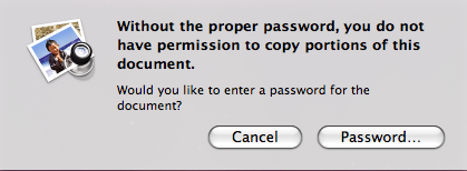 Copying content from Panasonic manuals / operating instructions is prevented via password protection