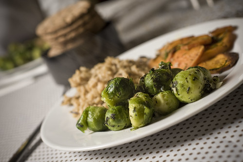 Brussel Sprouts, Sweet Potatoes, Wild Rice