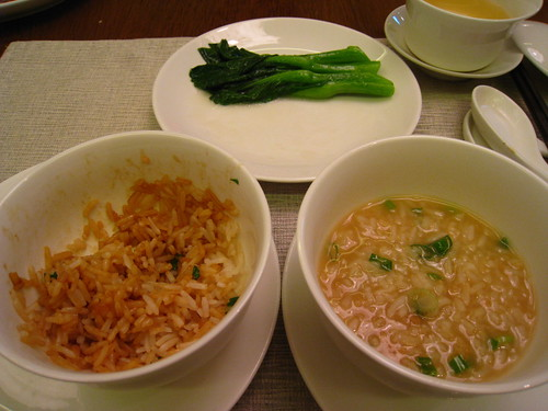 Claypot Rice, Burnt Crust Porridge & Blanched Kailan