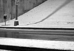 Piney Branch Road NW Pole, Meters, Snow, At Night (Washington, DC) - by takomabibelot