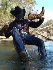 37 WS Ah! boot water shower hits the spot dudes!! (wranglerswimmer) Tags: wet creek swimming cowboy boots cowboyhat cowboyboots cowboyup swimmingfullyclothed wetjeans wranglerjeans bootwash bootwater wetwranglers wetcowboy swimminginjeans soakedclothes guysswimmingfullyclothed wetcowboyhat