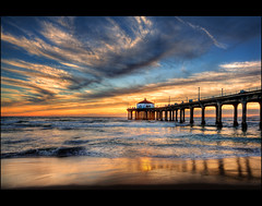 Manhattan Beach Pier Sunset (szeke) Tags: ocean california sunset water clouds landscape pier losangeles bravo pacific wave processing manhattanbeach hdr pictureperfect photomatix littlestories abigfave infinestyle picswithsoul qualitypixels artinoneshot blendinphotoshop