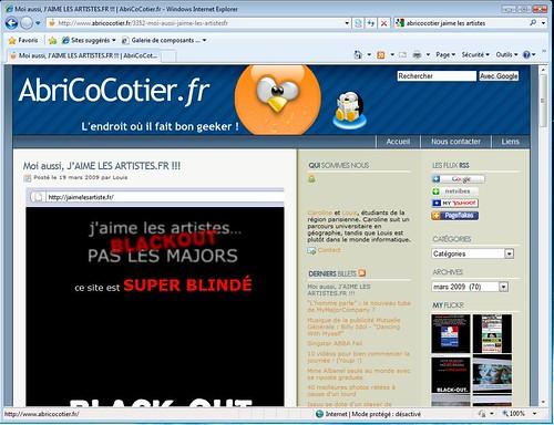Test Internet Explorer 8 avec AbriCoCotier