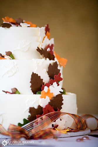 Wedding cake with sugar autumn leaves by Charlotte Geary Photography.