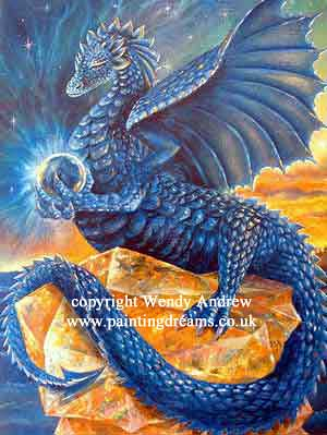 Indigo Meditation Dragon by Wendy Andrew