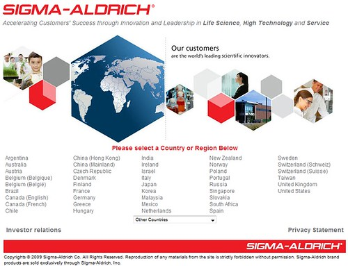 Sigma Aldrich geo splash screen