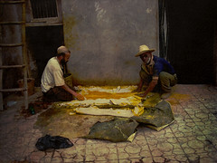 Workers at the Marrakech Tannery (ehazael) Tags: skin goat morocco smell marrakech worker dye moroccan tannery