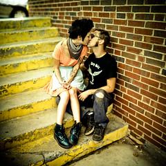Kissing on the Stairs (christophergreene) Tags: portrait panorama color engagement focus bokeh sony emo couples romance manual unreal 58mm method a100 f12 antishake brenizer excapture bokerama minoltarokkor58mmf12 bokehpanorama brenizermethod