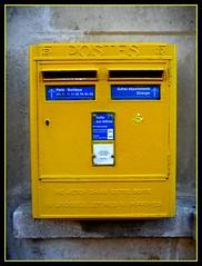 No letter today ;- I (valkiribocou) Tags: street blue portrait face yellow jaune postes head mailboxes bleu 75007 rue tte visage boiteauxlettres 7mearrondissement valkiribocou panasonicdmctz5 jevoisdesttespartout