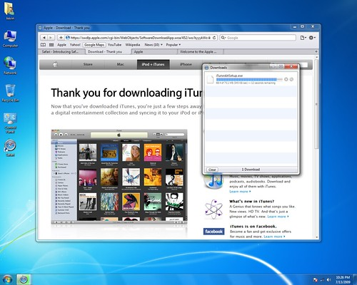Safari on Windows 7 - Download Status