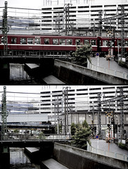_______ (sanosaurus []) Tags: street japan train diptych crossing  yokohama  1000 keikyu