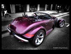 1997 Plymouth Prowler (Cygnus~X1 - Visions by Sorenson) Tags: 2009 50d auto automobile canon car classiccarsandtrucks courthousesquare craigsorenson cruisedaytuesdays efs1755mmf28isusm hdr 3exp eos indiana monticello summer usa vehicle whitecounty brendaobrien 1997plymouthprowler plymouth prowler chrysler prowlerpurplemetallic purple slategrey 35l v6 4speed autostick 252hp retro hdrdreams 20090724000453z explore fb inshiny whitecountyin