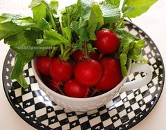 radishes! (ara133photography1) Tags: red stilllife food white black green cup kitchen leaves plate vegetable radish