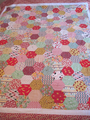 quilt top, pinned basted