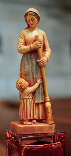 "Plaster statue, ""Our Lady of the Broom"", made in Croatia, from the collection of the Marianum, photographed at the Cathedral of Saint Peter, in Belleville, Illinois, USA"