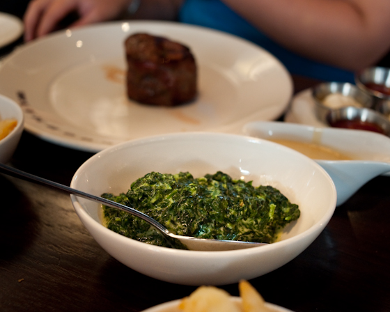 creamed spinach, filliet in background