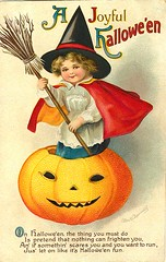 Vintage Halloween Postcards (Suzee Que) Tags: halloween girl vintage pumpkin child witch ephemera postcards broom freetouse