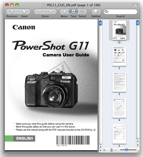 Canon G11 Manual